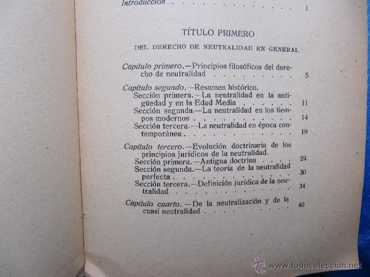 Libros antiguos: DE LA NEUTRALIDAD DE LOS BELIGERANTES. JOSE Mª DE SANTOS Y CIA. S. GENERAL DE PUBLICACIONES, 1914. - Foto 3 - 48538913