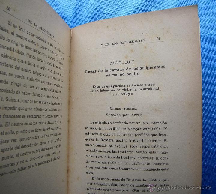 Libros antiguos: DE LA NEUTRALIDAD DE LOS BELIGERANTES. JOSE Mª DE SANTOS Y CIA. S. GENERAL DE PUBLICACIONES, 1914. - Foto 4 - 48538913