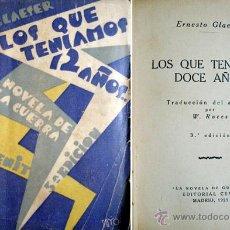 Libros antiguos: GLAESER, ERNST (1902-1963). LOS QUE TENÍAMOS DOCE AÑOS. 1929.. Lote 53722692