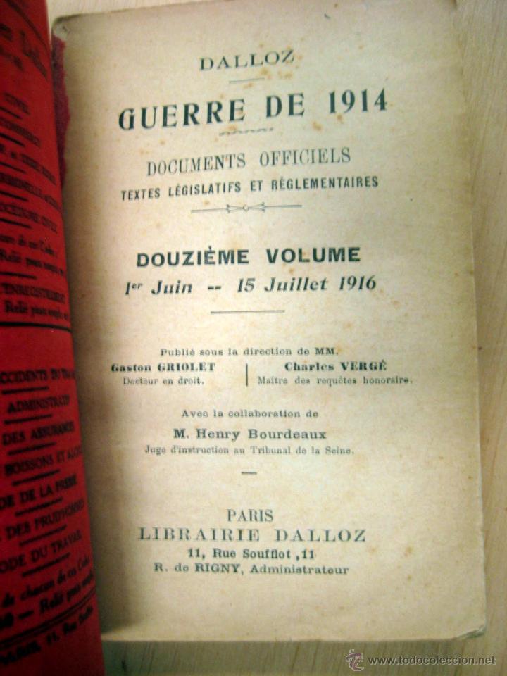 Libros antiguos: GUERRA DE 1914 - 1 junio a 15 julio de 1916 - DALLOZ - Foto 2 - 53973273