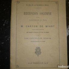 Libros antiguos: EL DIA DE LA BANDERITA BELGA M.CARTON DE WIART 1914 PARIS. Lote 72921139