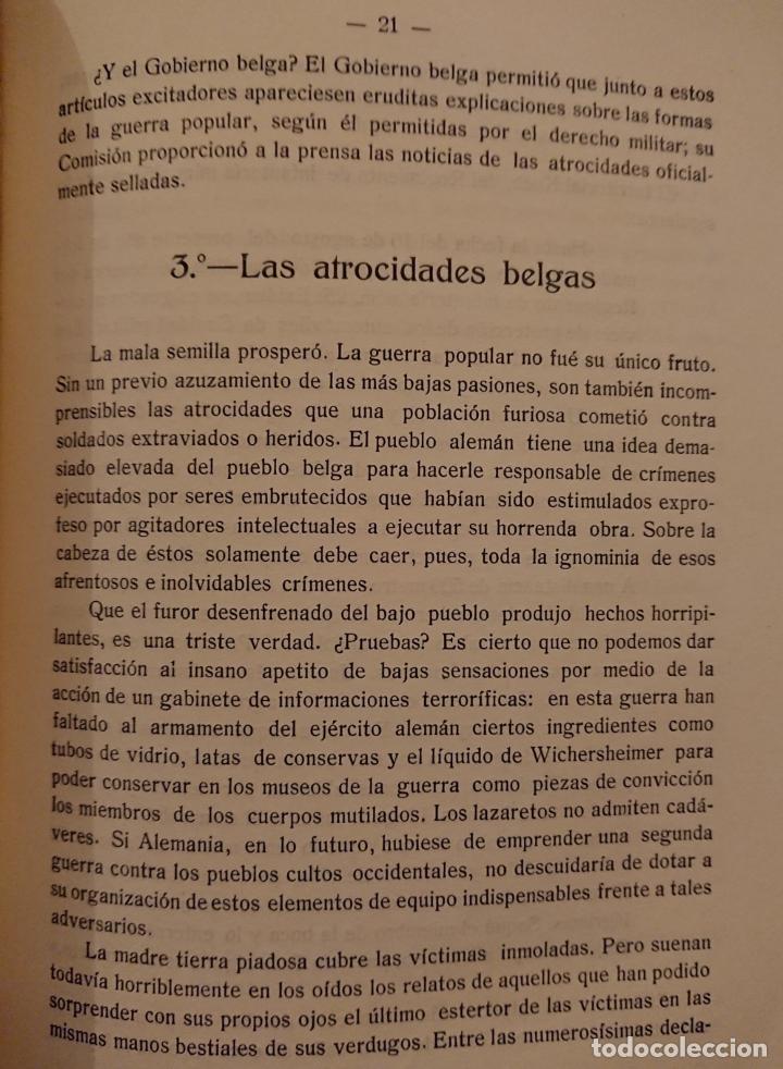 Libros antiguos: LA CULPA DE BÉLGICA, RICHARD GRASSHOF, WAXWEILER 1915 - Foto 3 - 118501447
