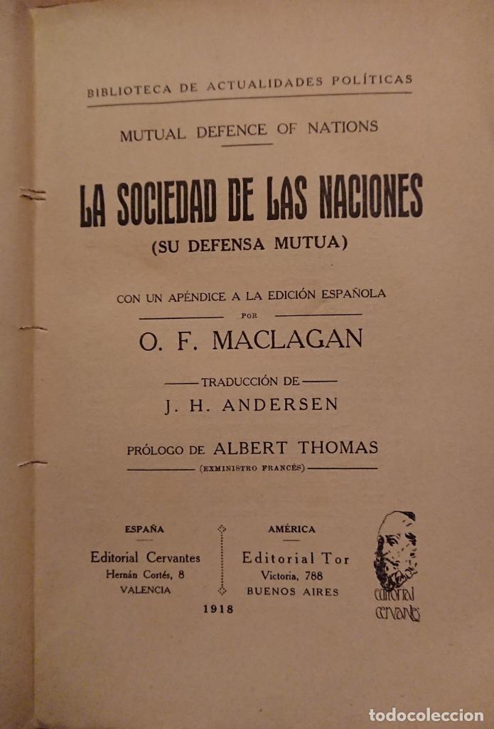 Libros antiguos: LA SOCIEDAD DE LAS NACIONES, O. F. MACLAGAN, ALBERT THOMAS - Foto 2 - 119770199