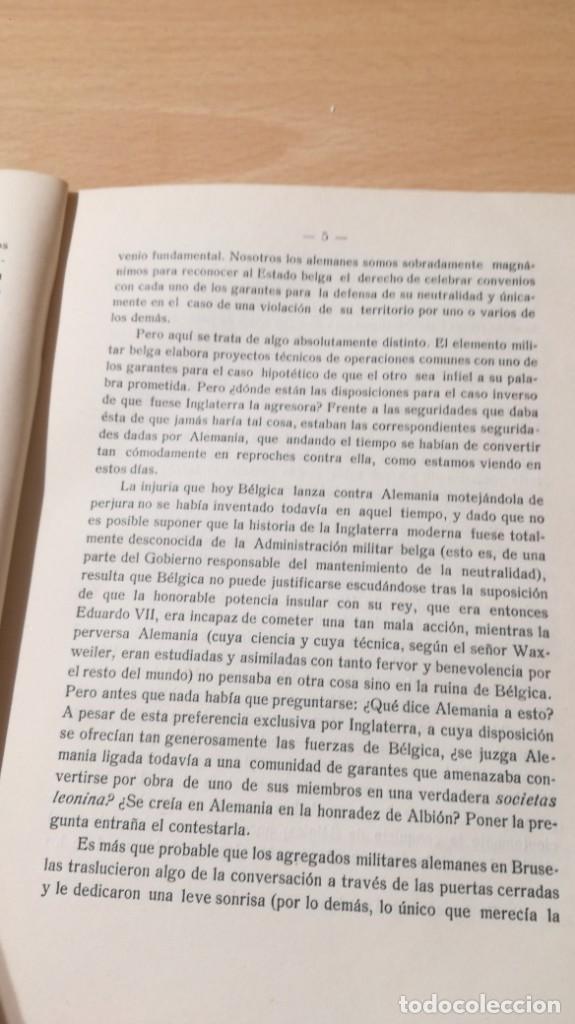 Libros antiguos: LA CULPA DE BELGICA - PRIMERA GUERRA MUNDIAL - CONTESTACION AL PROFESOR WAXWEILER POR RICHARD GRASSO - Foto 6 - 190288121