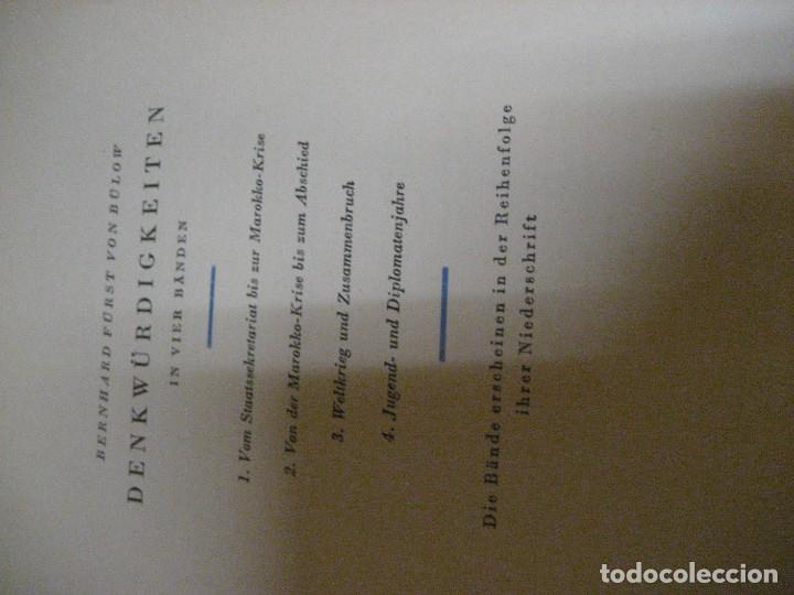 Libros antiguos: fúrst von bülow . denkwür digkeiten 3 tomos memorias documentos cartas facsímil año 1930 guerra mun - Foto 31 - 206940570