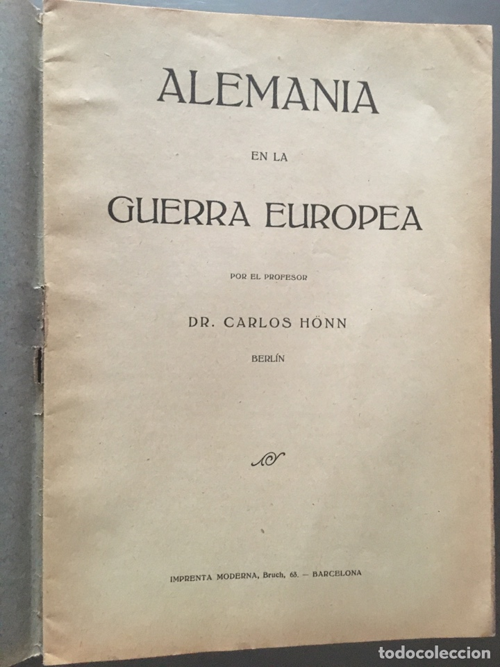 Libros antiguos: ALEMANIA EN LA GUERRA EUROPEA - Carlos Honn- 32p. 21x15 - Foto 2 - 212753302