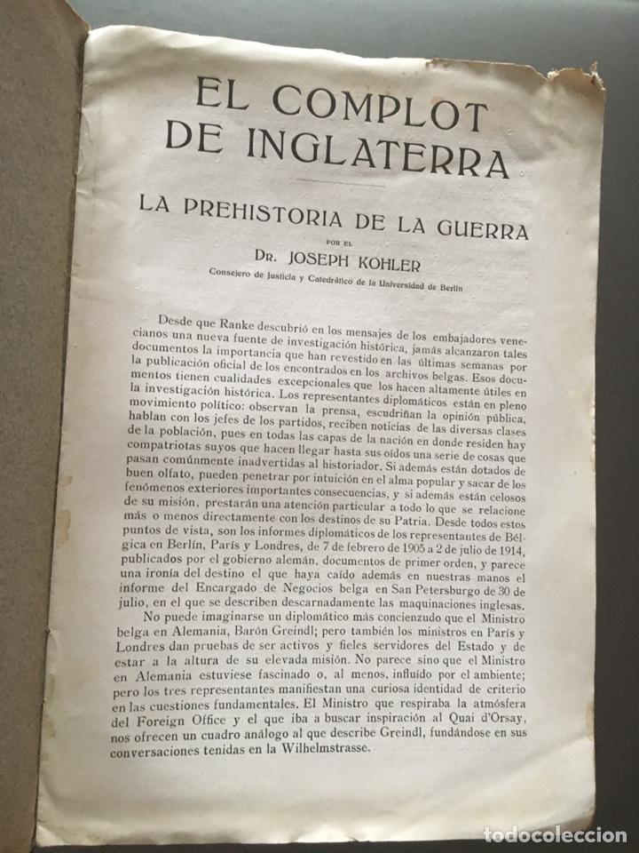 Libros antiguos: EL COMPLOT DE INGLATERRA - La prehistoria de la guerra - Joseph Kohler - 8p. 23x16 - Foto 2 - 212755783