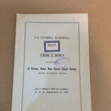 Libros antiguos: DAVID LLOYD GEORGE / LA GUERRA EUROPEA / PRIMERA GUERRA MUNDIAL / ROMANONES. Lote 228251765