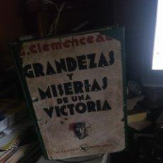 Libros antiguos: CLEMENCEAU GRANDEZAS Y MISERIAS DE UNA VICTORIA. AGUILAR 1930. RETAPADO. Lote 278379093