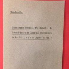 Libros antiguos: DECLARACIONES HECHAS POR MR. ASQUITH Y SIR EDWARD GREY EN LA CAMARA DE LOS COMUNES 1914. Lote 287663583