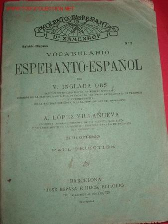 VOCABULARIO ESPERANTO ESPAÑOL. PRINCIPIOS DE SIGLO. (Libros Antiguos, Raros y Curiosos - Cursos de Idiomas)