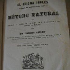 Libros antiguos: GRAMÁTICA INGLESA. AÑO 1852. POR D. FRANCISCO PIFERRER. 2ª EDICIÓN.. Lote 27157532