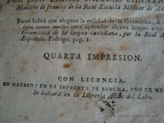 Libros antiguos: Arte de hablar bien francés o gramática completa dividada en tres partes.1804.IMPRENTA DE SANCHA - Foto 4 - 32439206