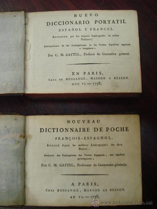 Libros antiguos: Nouveau Dictionnaire de poche Français espagnol. 1798. 2 Volumenes - Foto 2 - 32139683