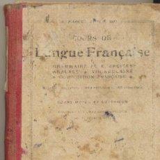 Libros antiguos: COURS DE LANGUE FRANÇAISE. COURS MOYEN ET SUPERIEUR. HACHETTE 1923.. Lote 41099251