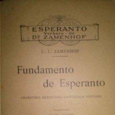 Libros antiguos: FUNDAMENTO DE ESPERANTO. GRUPO ESPERANTISTA MURCIA 1910. Lote 42908833