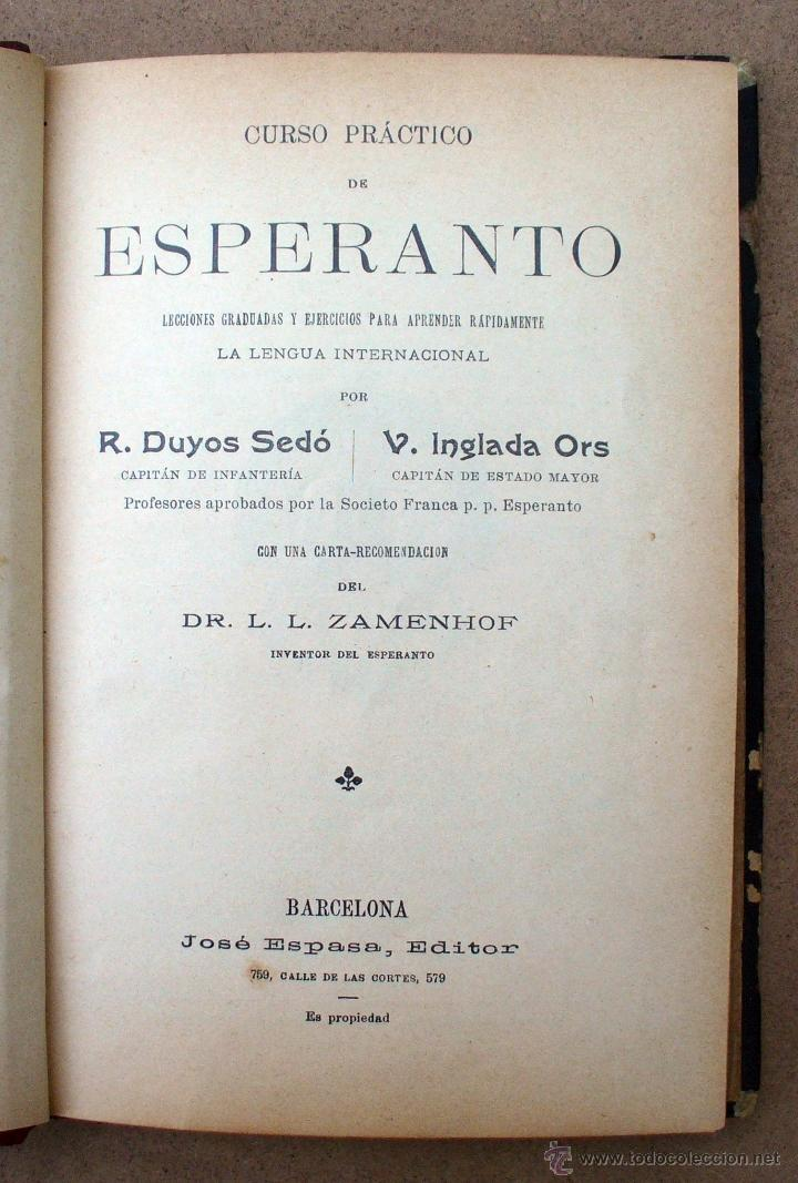 Libros antiguos: CURSO PRACTICO DE ESPERANTO, R.DUYOS - V.INGLADA - Foto 2 - 45373896