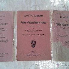 Libros antiguos: CLAVE DE VERSIONES, CLAVE DE TEMAS Y CLAVE PARA EL ESTUDIO DE VERBOS FRANCESES-ATALO CASTAÑS. Lote 47745041