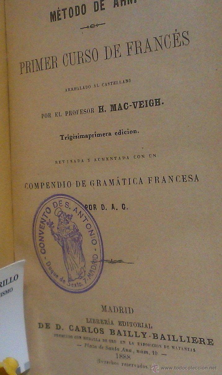 Libros antiguos: AÑO 1.888.- METODO DE AHN. PRIMER CURSO DE FRANCES POR H.MAC-VEIGH. - Foto 3 - 234549770