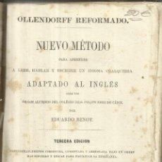 Libros antiguos: NUEVO MÉTODO PARA APRENDER INGLÉS. EDUARDO BENOT. IMPRENTA DE LA REVISTA MÉDICA.MADRID. 1858. Lote 56269523