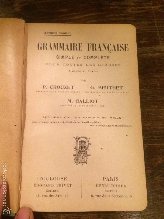 Libros antiguos: Antiguo libro de lengua francesa Grammaire française simple y complete pour totes les classes 1918 - Foto 3 - 58293509