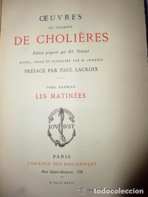 Libros antiguos: OEUVRES DU SEIGNEUR DE CHOLIÈRES (2 tomos,1879) - Foto 3 - 77274905