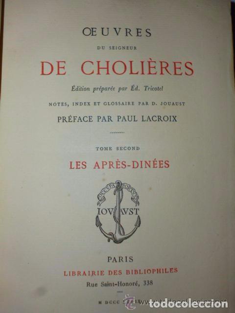 Libros antiguos: OEUVRES DU SEIGNEUR DE CHOLIÈRES (2 tomos,1879) - Foto 4 - 77274905