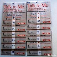 Libros antiguos: TALK TO ME CURSOS INTERACTIVOS 12 CD'S COMPLETO ENGLISH, FRANCAIS, DEUTSCH . Lote 86931736