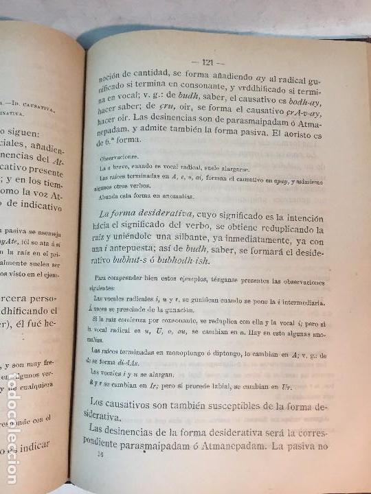 Libros antiguos: Gramática Sanskrita 1888 granada José Ventura Traveset con apéndice literatura sanskritánica - Foto 7 - 90910760