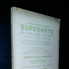 Libros antiguos: EL IDIOMA INTERNACIONAL AUXILIAR ESPERANTO AL ALCANCE DE TODOS / FERNANDO SOLER WALLS. Lote 95558931