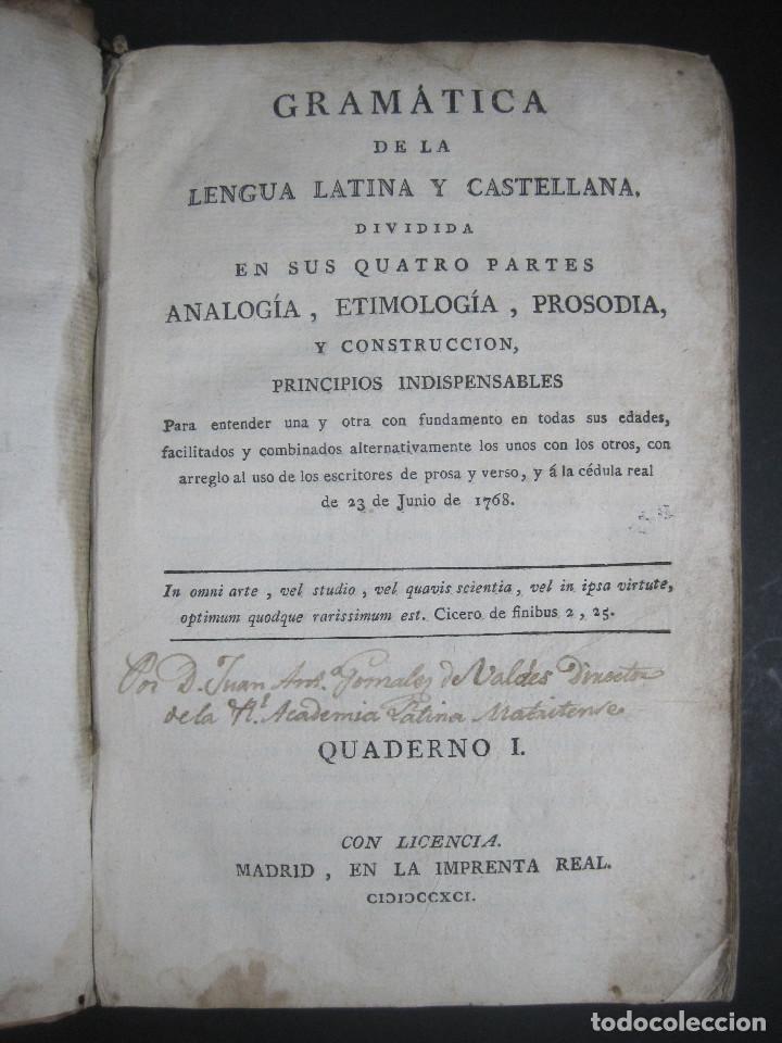 Libros antiguos: Año 1791 Raro Método completo para aprender latín 3 libros en 1 volúmen Castellano Pergamino - Foto 8 - 106908759