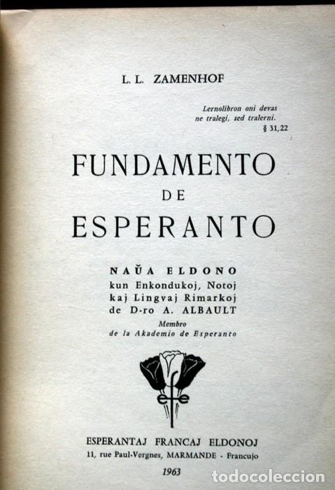 Libros antiguos: FUNDAMENTO DE ESPERANTO - ZAMENHOF - 1963 - 355 páginas - Foto 4 - 115173779