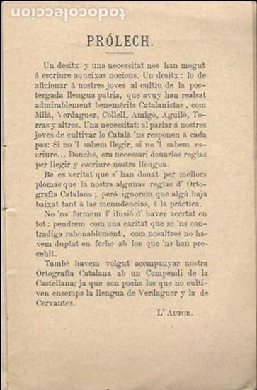 Libros antiguos: Lectura y ortografía de la llengua catalana seguida dun compendi d ortografía castellana / Marián - Foto 2 - 139869142