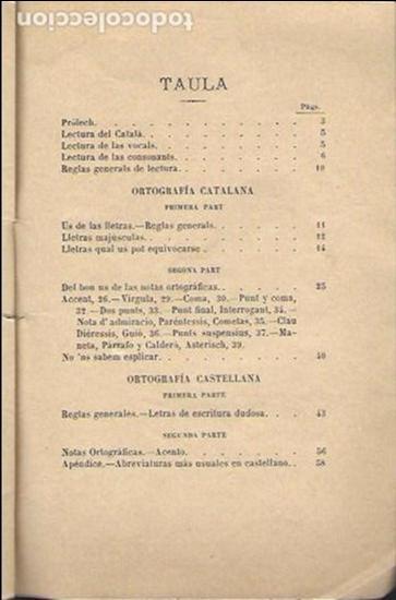 Libros antiguos: Lectura y ortografía de la llengua catalana seguida dun compendi d ortografía castellana / Marián - Foto 3 - 139869142