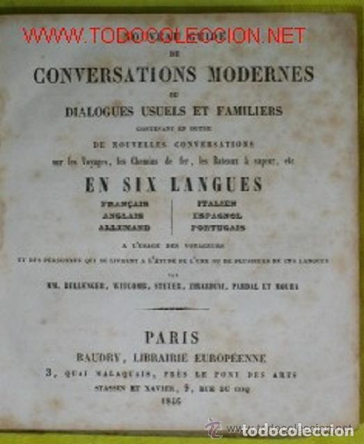 ANTIGUA GUIA FRANCESA DE CONVERSACION EN 6 IDIOMAS DEL SIGLO XIX (Libros Antiguos, Raros y Curiosos - Cursos de Idiomas)