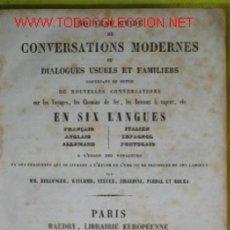 Libros antiguos: ANTIGUA GUIA FRANCESA DE CONVERSACION EN 6 IDIOMAS DEL SIGLO XIX. Lote 145771666