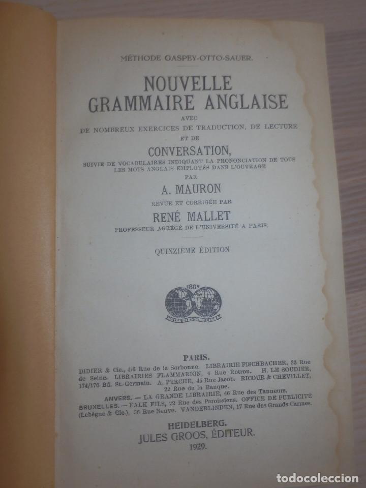 Libros antiguos: Metodo Gaspey - Mauron-Mallet - Gramaire Anglaise - Gramática Inglesa - 1929 - Foto 3 - 154793502