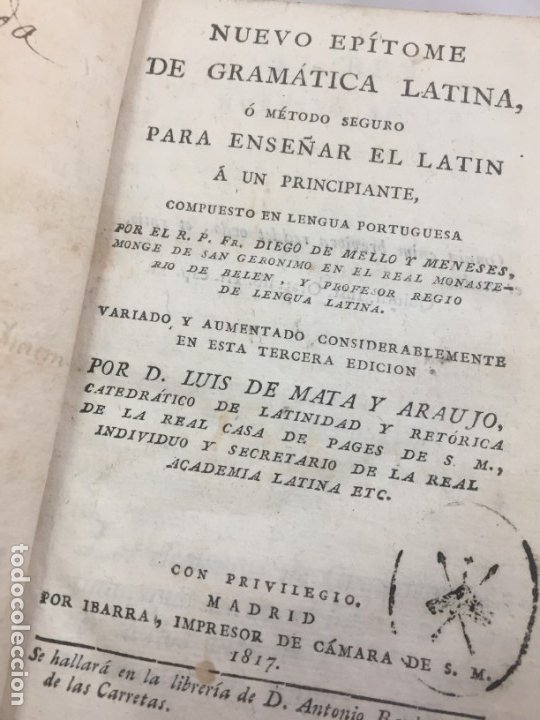 NUEVO EPÍTOME DE GRAMÁTICA LATINA O MÉTODO SEGURO ENSEÑAR LATIN PRINCIPIANTE 1817 PLENA PIEL MADRID (Libros Antiguos, Raros y Curiosos - Cursos de Idiomas)