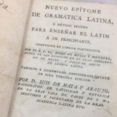 Libros antiguos: NUEVO EPÍTOME DE GRAMÁTICA LATINA O MÉTODO SEGURO ENSEÑAR LATIN PRINCIPIANTE 1817 PLENA PIEL MADRID . Lote 173181703