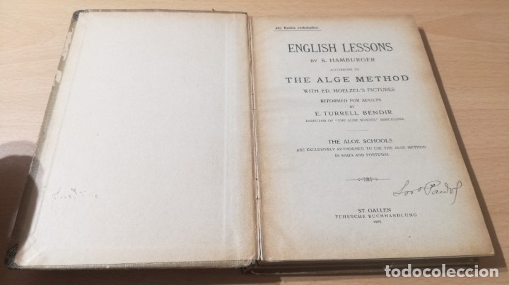Libros antiguos: ENGLISH LESSONS ADULTS THE ALGE METHOD - ST GALLE 1905 - Foto 3 - 177845315