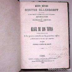 Libros antiguos: NUEVO MÉTODO DEL DOCTOR OLLENDORFF PARA APRENDER INGLÉS. CLAVE DE LOS TEMAS. CÁDIZ - 1851 . Lote 182105217