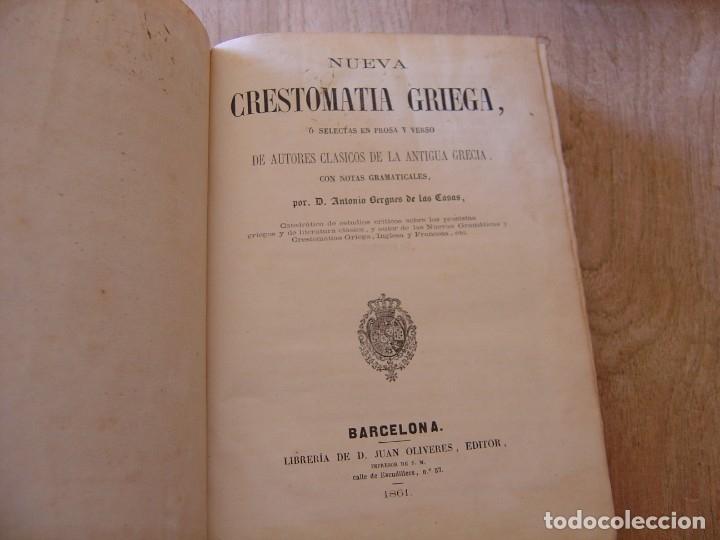 NUEVA CRESTOMATIA GRIEGA, SELECTAS EN PROSA Y VERSO DE AUTORES CLÁSICOS DE LA ANTIGUA GRECIA. 1861 (Libros Antiguos, Raros y Curiosos - Cursos de Idiomas)