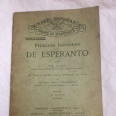 Libros antiguos: PRIMERAS LECCIONES DE ESPERANTO - 5ª ED. 1906 - TH. CART - BUEN ESTADO - 28 PAGINAS - 17,5X11,5. Lote 183074546