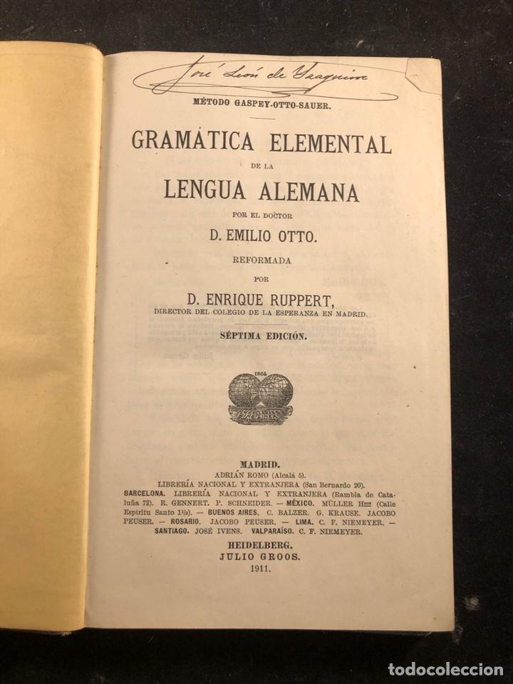 Libros antiguos: Gramática elemental de la lengua alemana - Foto 2 - 257698665