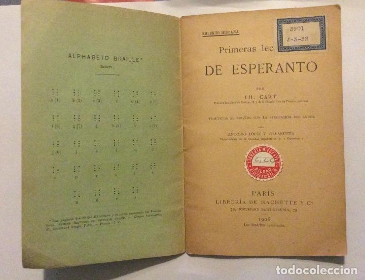 Libros antiguos: Primeras lecciones de Esperanto,por TH Cart, 1906. 5º edición 30 pag. 11 x 17,5 cm - Foto 2 - 183581830