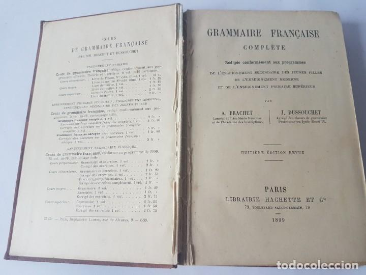 Libros antiguos: GRAMMAIRE FRANCAISE COMPLETE - EDITADO EN 1899 - Foto 4 - 188758541