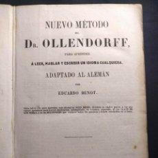 Libros antiguos: NUEVO MÉTODO DEL DR. OLLENDORFF (...) ADAPTADO AL ALEMÁN POR EDUARDO BENOT. 1853. CÁDIZ.. Lote 190707750