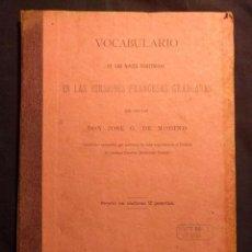 Libros antiguos: VOCABULARIO DE LAS VOCES CONTENIDAS EN LAS VERSIONES FRANCESAS GRADUADAS. JOSÉ G. MODINO 1883.. Lote 190707855