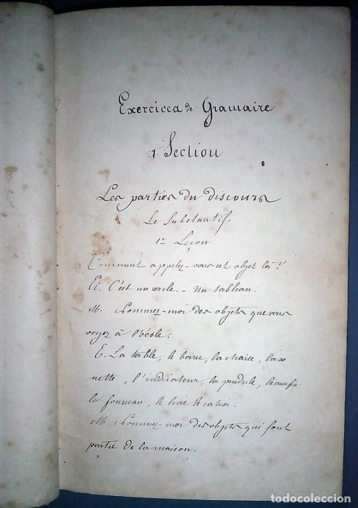 Libros antiguos: Ejercicios de gramática. Manuscrito. Francés. Incluye 2 desplegables. - Foto 2 - 191070738
