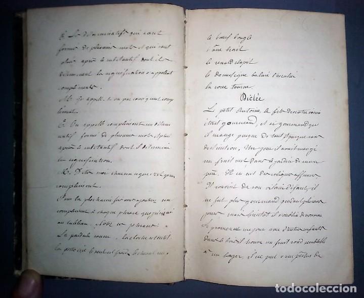 Libros antiguos: Ejercicios de gramática. Manuscrito. Francés. Incluye 2 desplegables. - Foto 4 - 191070738